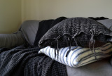 Peppercorn Dark Grey Waffle Linen Pillow Case. Super heavy weight linen
