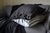 Peppercorn Dark Grey Waffle Linen Pillowcase. Super heavy weight linen
