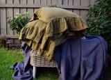 Olive green natural linen pillowcase with ruffle