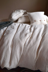 Ivory Heavy Weight Rustic Linen Duvet/ Quilt Cover
