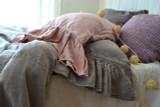 Rose Quartz Heavy linen pillow case with ruffle