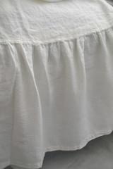White Ruffled Linen Bedskirt⎮Bed Valance⎮Dust Ruffle