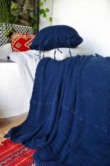 Waffle Linen Blanket, Indigo Blue. Extra Heavy natural linen