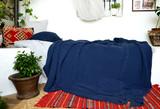 Indigo Blue heavy waffle linen blanket