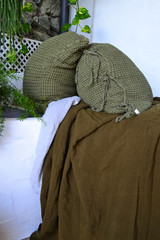 Olive Green Waffle Linen Pillow Case. Super heavy weight linen