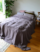 Blueberry Milk Heavy Weight Rustic Linen Bed cover/Coverlet