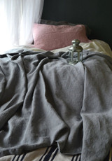 Fossil Grey Heavy Weight Rustic Linen Bed cover/Coverlet