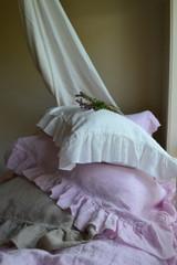Ruffled Natural undyed linen pillow case