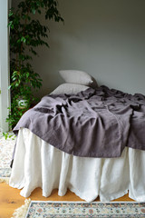 Fitted Sheet in Blueberry Milk Heavy Weight Rustic Linen