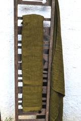 Natural linen bathroom towel, Olive Green/Waffle texture