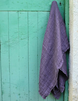 Natural linen bathroom towel, Blueberry Milk/Waffle texture