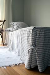 Rustic Pinstripe Heavy weight Linen Box Pleated Valance/ Bedskirt/ Dust Ruffle