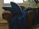 Indigo Dark Blue stonewashed linen pillow case