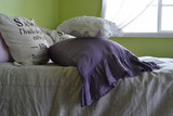 Blueberry Milk stonewashed linen pillow case with long ruffle