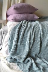 Waffle linen blanket, Duck Egg Blue. Extra Heavy natural linen