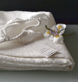 Pure White stonewashed linen fitted sheet