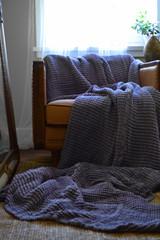 Waffle linen blanket, Blueberry Milk, Extra Heavy natural linen