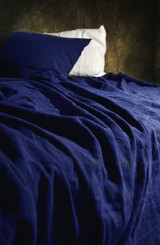 Indigo Dark Blue stonewashed linen fitted sheet