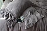 Blueberry Milk Heavy linen pillow case with long ruffle