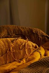 Turmeric Waffle Linen Pillow Case. Super heavy weight linen