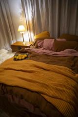 Waffle linen blanket, Turmeric, Extra Heavy natural linen