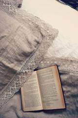 Provincial Living, Natural undyed linen duvet cover with linen lace