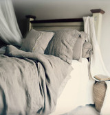 Provincial Living, Natural undyed linen duvet cover with linen lace
