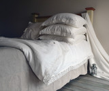 Antique white natural linen pillowcase with lace, Provincial Living Collection