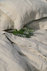 Natural stonewashed linen duvet/quilt cover