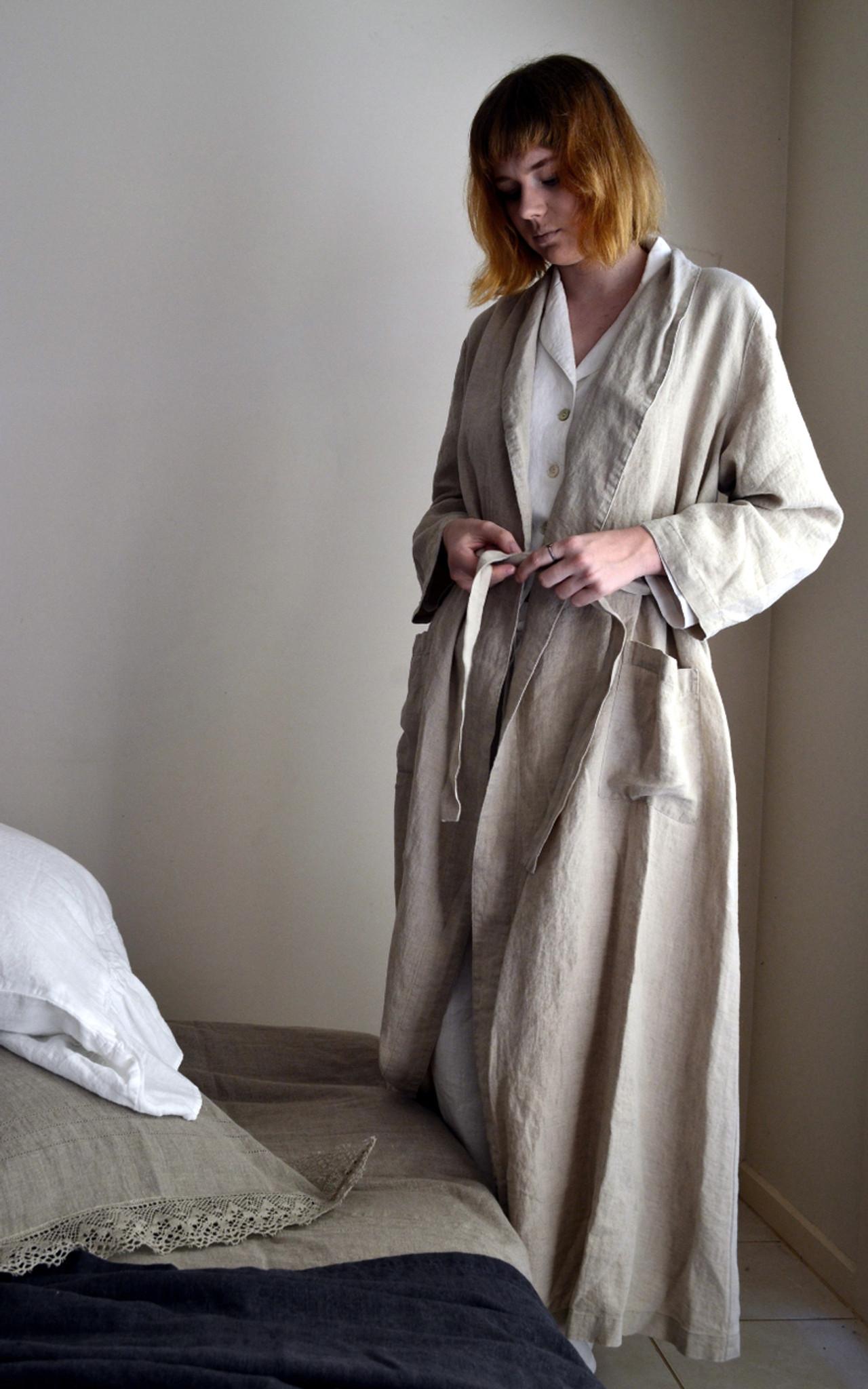 Vintage inspired long linen robe  Flax colour 5aa8ba332