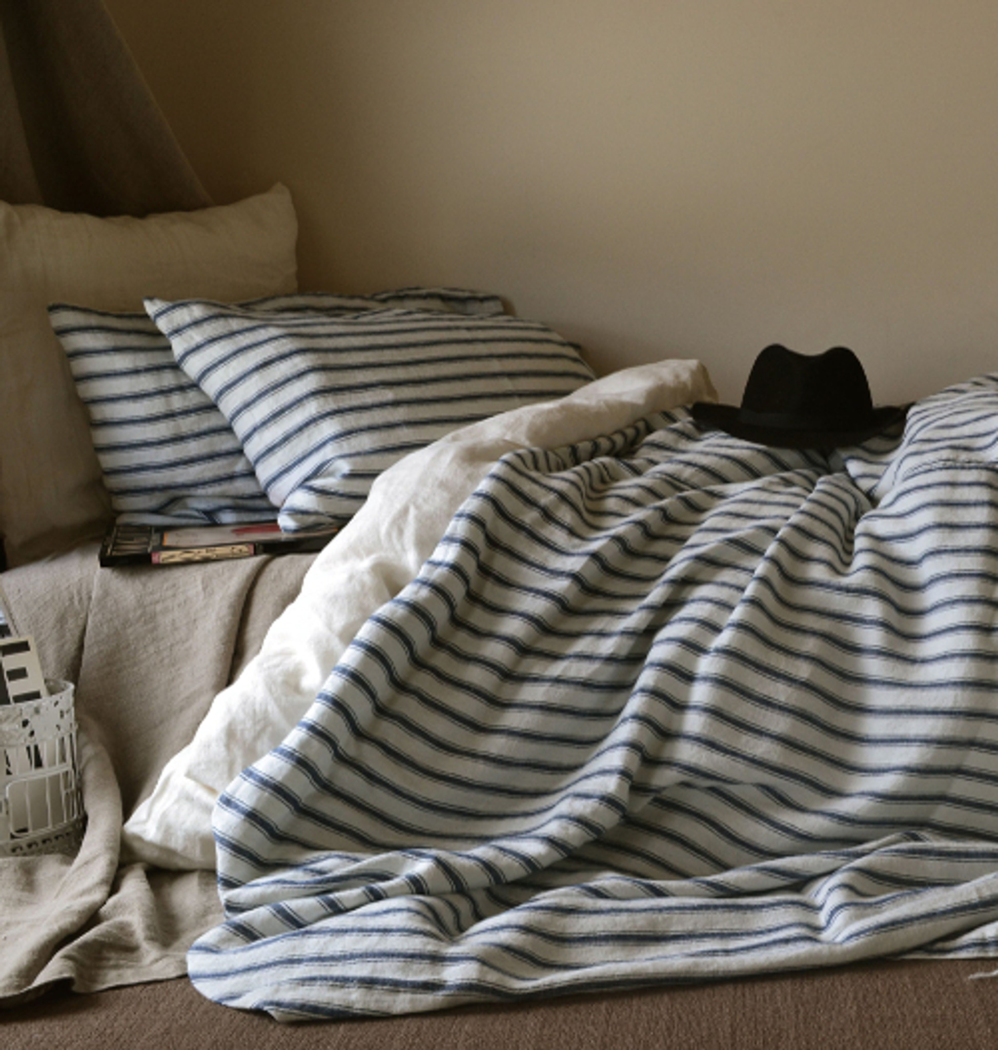French Antique Ticking Natural Linen Quilt Cover