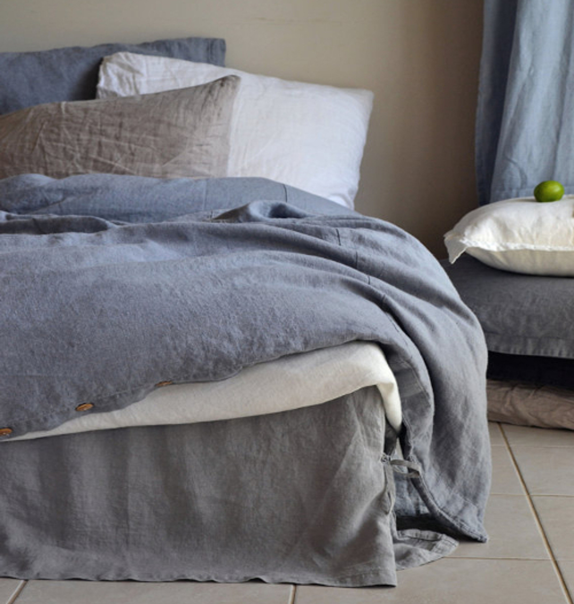 Dove Grey Natural Linen Quilt Cover