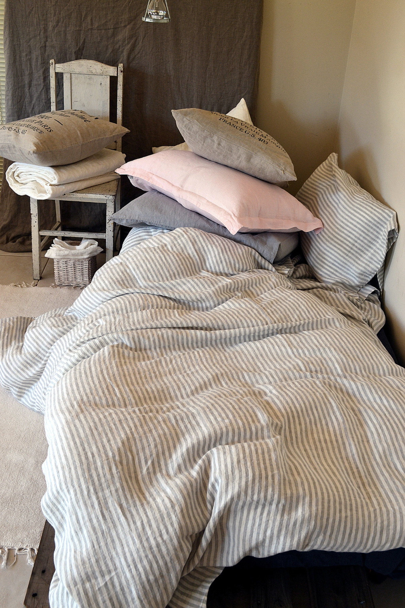 Stonewashed Natural Linen Bedspread Provincial Style Striped  Bed Cover Light Weight Blanket Throw  LifeInLinenStudio Stonewashed Linen OOAK