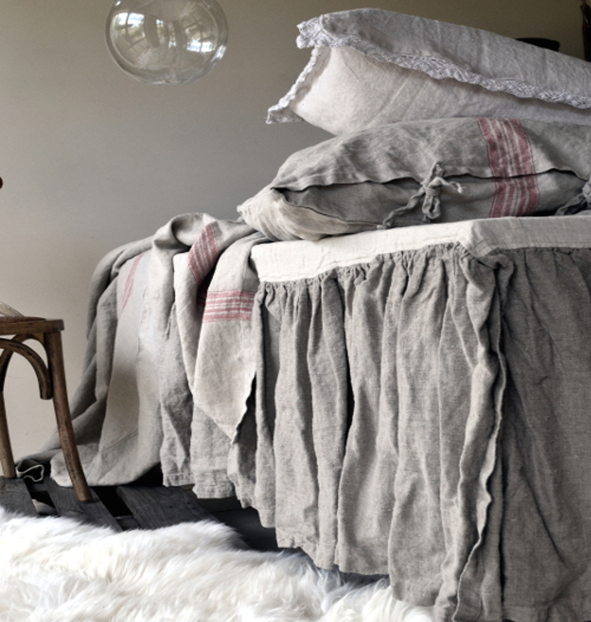Heavy Weight Rustic Rough Stonewashed Linen Bed Skirt Dust Ruffle Valance