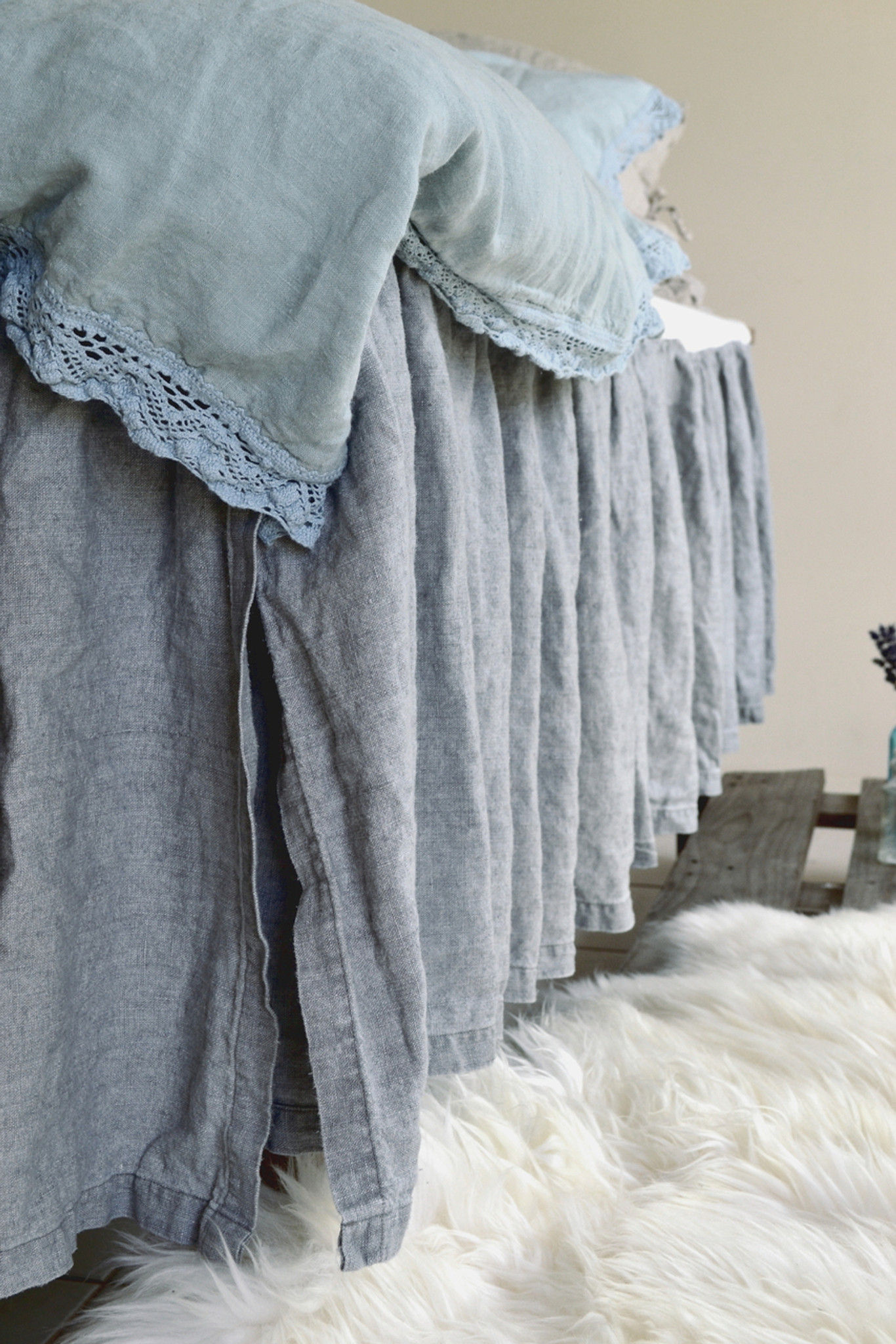 Dove Grey Heavy Weight Rustic Linen Bed Skirt Dust Ruffle Valance