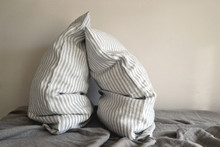 Grey & White Pinstriped Linen pillow case