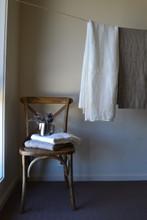 Natural linen bathroom towel/Waffle texture/Ivory