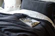 Peppercorn Dark Grey Rustic Heavy Weight Linen Duvet/ Quilt Cover