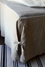 Box Pleated Dust Ruffle, Natural stonewashed linen