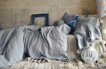 Pure Elegance, light grey stonewashed linen duvet/quilt cover