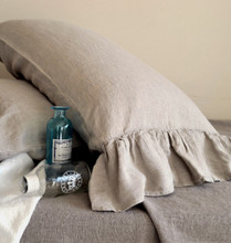 Natural undyed linen pillow case with ruffle