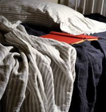 Grey and White Pinstriped linen flat sheet