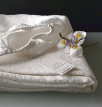 Antique white stonewashed linen fitted sheet