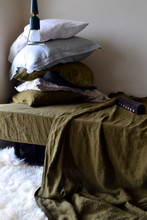 Olive green stonewashed linen Top⎮Flat sheet