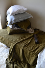 Olive green luxurious linen flat sheet