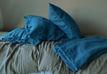 Teal Heavy Weight Rustic Linen Bed cover/Coverlet