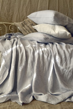 Silver light grey luxurious linen fitted sheet