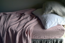 Rose Quartz Heavy weight Rustic linen fitted sheet