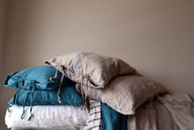 Blue Stripe Grainsack Linen Pillowcase. All sizes