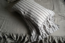 Vintage Black Ticking linen pillow case with ruffle